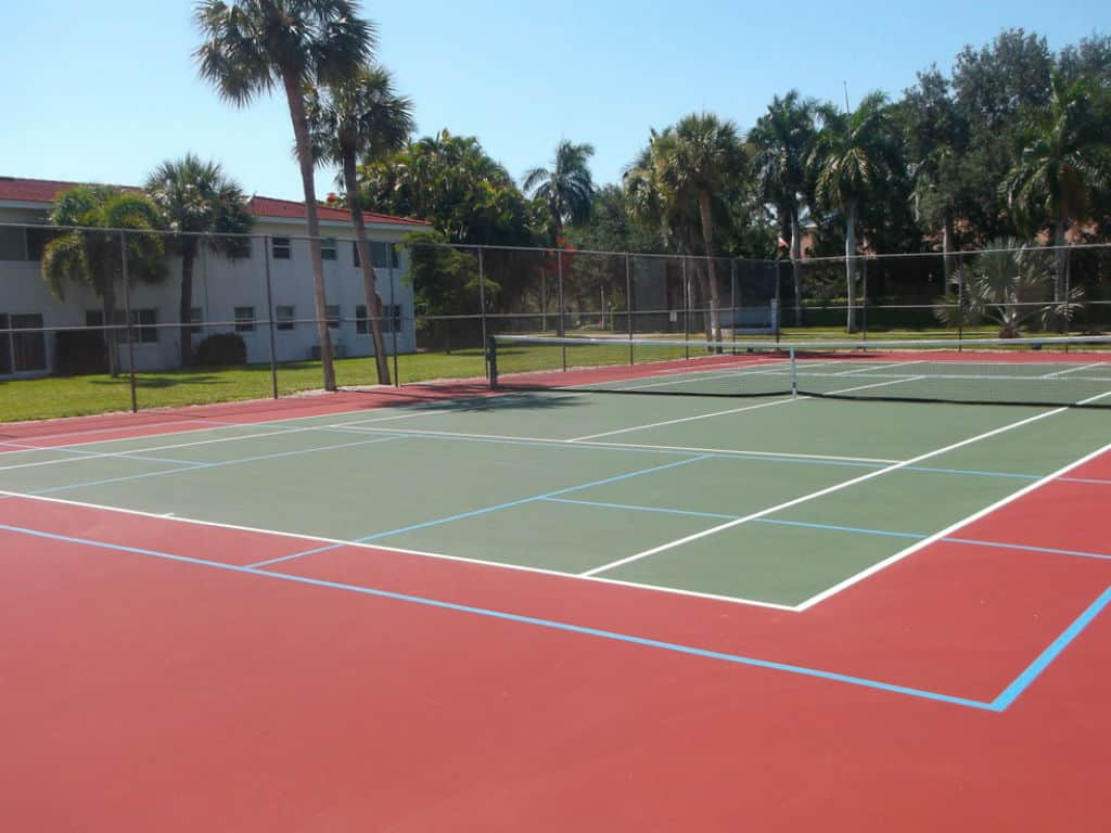 Pickleball court from a tennis court pickleballpop for Sport court paint